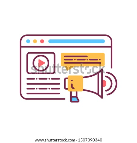 Display ads color line icon. Ad promotion concept. Digital marketing symbol. Online business and internet. UI/UX/GUI design element. Isolated vector template. Editable stroke.