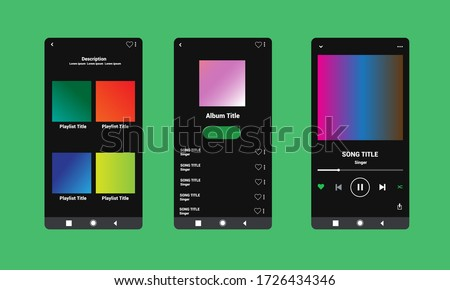 Display application charts for the most popular songs. Spotify Template with green background