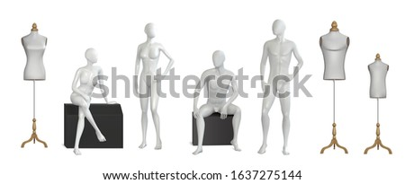 Display cases showcases full body sitting and standing mannequins tailor child adult dress forms realistic set vector illustration