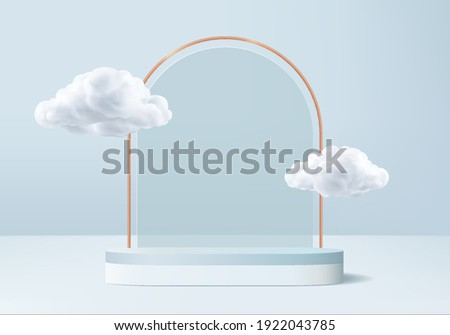 display 3d background products podium pedestal with cloud. podium blue background vector 3d render podium. stand to show cosmetic product. cloud 3d stage showcase on pedestal display blue sky studio