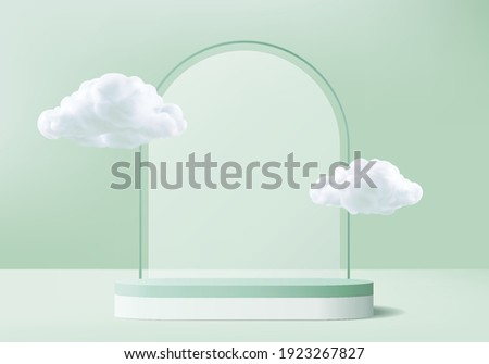 display 3d background products podium scene with cloud platform. background vector 3d rendering with podium. stand to show cosmetic products. cloud stage showcase on pedestal display green studio