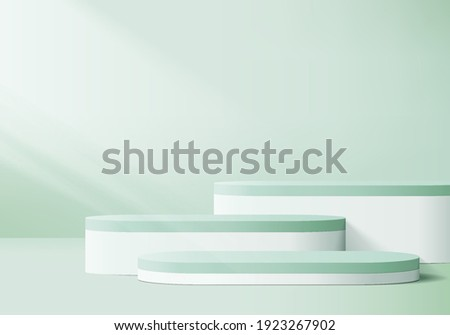 display 3d background products podium scene with geometric platform. background vector 3d rendering with podium. display stand to show cosmetic product. Stage showcase on pedestal display green studio