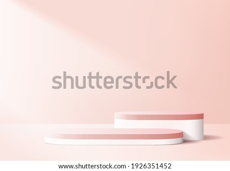 display 3d pink background products podium scene with geometric platform. background vector 3d rendering with podium. display stand to show cosmetic product. Stage show on pedestal display pink studio