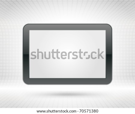 Display Screen fly with with 3d wire vector background. Eps 10. - stock vector