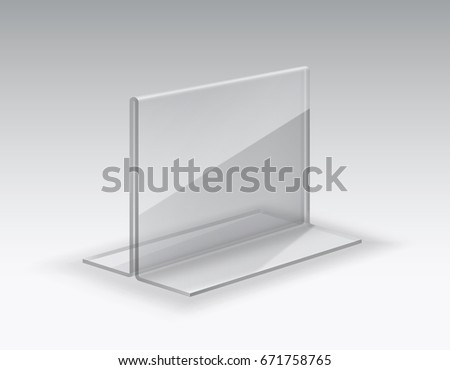 Display stand. Acrylic table card holder isolated on grey background. Vector empty glass display. Clear plastic, plexi or plexiglass price tag holder or restaurant menu mock up for your design.