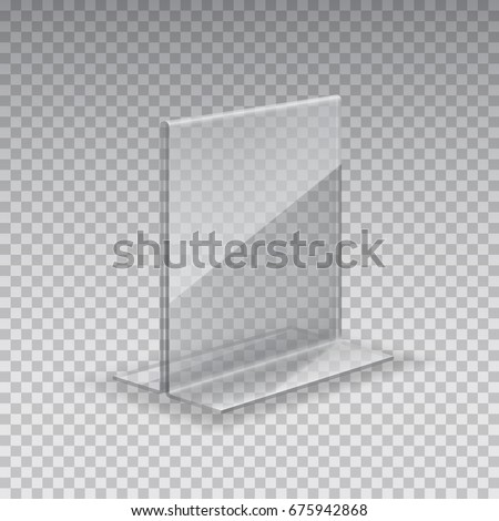 Display stand. Acrylic table card holder isolated on transparent background. Vector empty glass display. Clear plastic, plexi, plexiglass or acrylic restaurant menu mock up for your design.