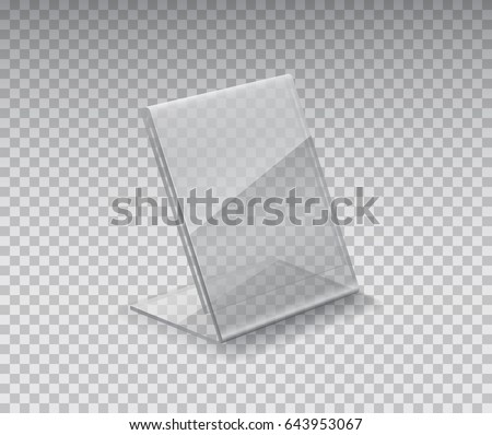 Display stand, acrylic table tent, card holder isolated on transparent background. Vector empty plastic price tag mockup or 3D plexi restaurant menu template.