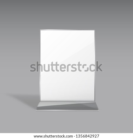 Display stand or acrylic table tent, card holder isolated on gray background. Vector empty flyer glass display. Plastic frame of photo, paper sheet mock up or restaurant menu for your design.