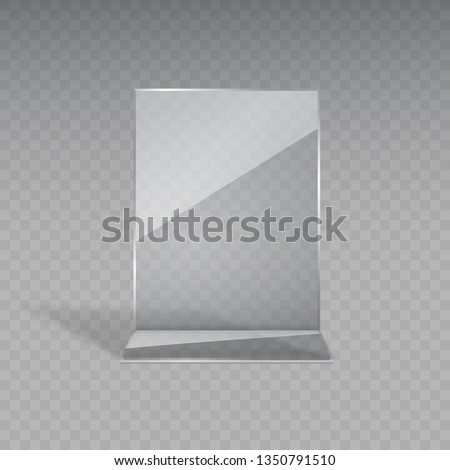 Display stand or acrylic table tent, card holder isolated on transparent background. Vector empty flyer glass display. Plastic frame of photo, paper sheet mock up or restaurant menu for your design.  #1350791510