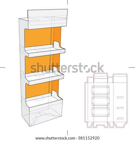 Display Stand Shelf with Blueprint Layout