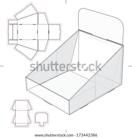 point of sale display template - display stand tray with blueprint stock vector 173442386