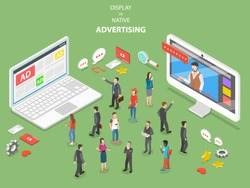Display vs native advertising flat isometric vector. Two devices with different ad types are trying to capture the attention of the crowd of people.