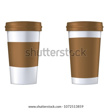 Disposable Coffee Cup Template Vector Illustration