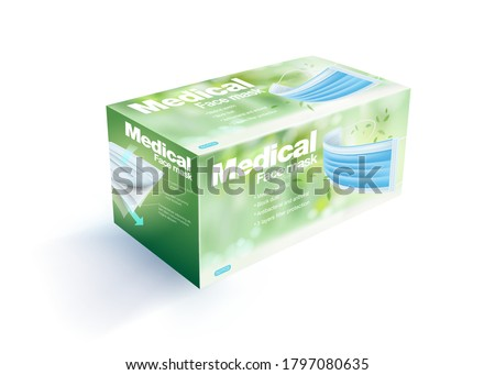 Disposable face mask packaging box contains 50 pieces, blurred natural green background.Realistic mock up  file.