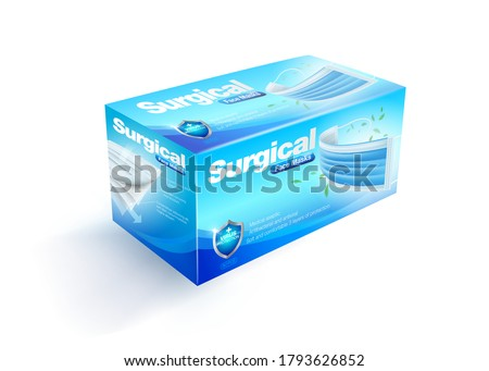 Disposable face mask packaging box, 50 pieces pack, realistic mockup files.