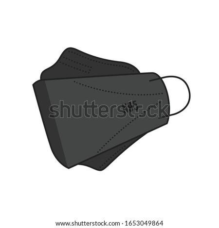 Disposable, KF94, KN95, N95 Medical Protection Mask, Respiratory Mask, Safety Face Mask, 3-Ply, Hospital Breathing Mask, Covid-19 Coronavirus, Icon Vector Illustration Background
