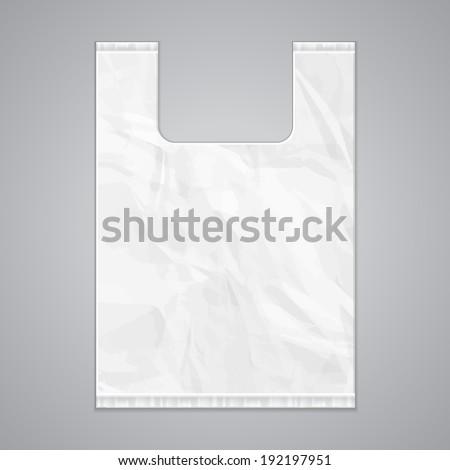 Disposable Plastic Bag Package Grayscale Template. Ready For Your Design. Product Packing Vector EPS10