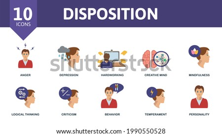Disposition icon set. Contains editable icons personality theme such as anger, hardworking, mindfulness and more. Stock photo ©
