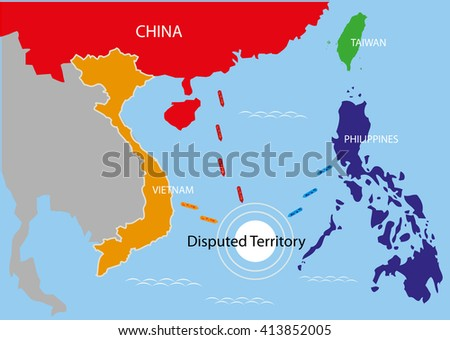 Disputed Territory within the area of The Philippines, China and Vietnam. Editable Clip Art.