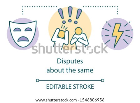 Disputes about same concept icon. Different opinions, matter of perspective idea thin line illustration. Tragedy mask, arguing people and lightning vector isolated outline drawing. Editable stroke