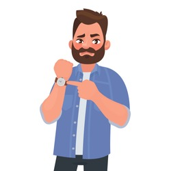 Dissatisfied man shows on the clock. Hurry up. Deadline. Impatient boss. Vector illustration in cartoon style