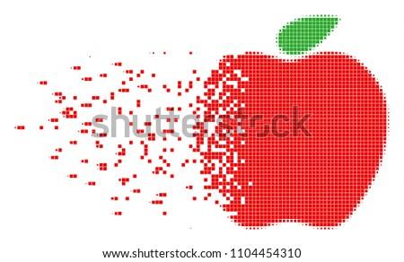 dissolved apple dot vector icon