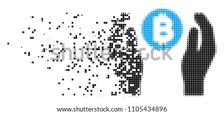 Dissolved Bitcoin care hands dotted vector icon with erosion effect. Rectangular points are combined into dissolving Bitcoin care hands form.