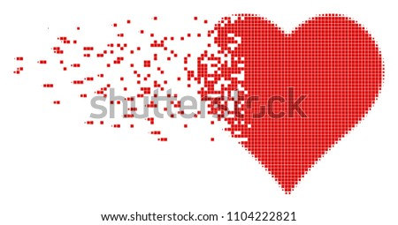 Dissolved valentine heart dot vector icon with disintegration effect. Square items are arranged into dissolving valentine heart figure.