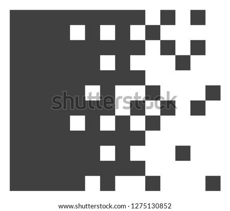 Dissolving pixels vector icon symbol. Flat pictogram is isolated on a white background. Dissolving pixels pictogram designed with simple style.