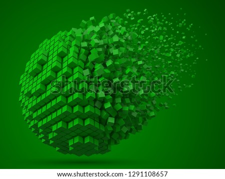 dissolving spherical data block. made with green cubes. 3d pixel style vector illustration. suitable for blockchain, technology, computer and abstract themes.