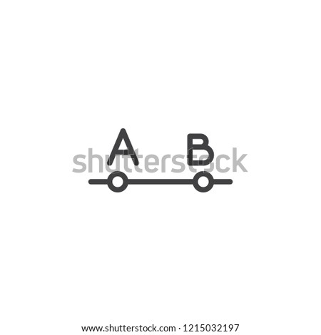 Distance between points A and B outline icon. linear style sign for mobile concept and web design. From point A to point B simple line vector icon. Symbol, logo illustration. Pixel perfect vector