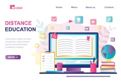 Distance education landing page template. E-learning banner. Online education or library, home schooling. Modern workplace, open book on laptop screen. Web courses or tutorials concept. Flat vector
