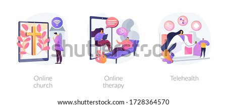 Distance help and support abstract concept vector illustration set. Online church, online therapy, telehealth, worship services, mental health, stay at home, social distancing abstract metaphor.