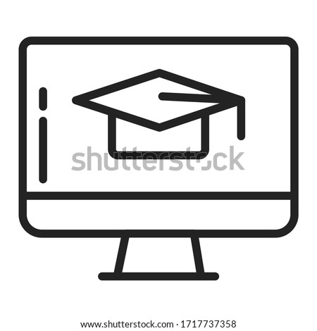 Distance learning black line icon. Online training courses. Home leisure. Isolated vector element.