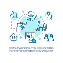 Distance learning concept icon with text. Remote classes. Web conferencing. Self education. PPT page vector template. Brochure, magazine, booklet design element with linear illustrations