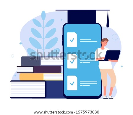 Distance learning. E Learning graduates student, online college. Man with laptop and books, person studying in digital academy. Internet teaching vector concept