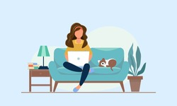Distance learning online education. Woman studying with laptop, female caucasian student looking at laptop with e-learning. Startup business concept
