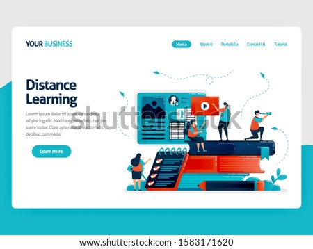 Distance learning with e-learning. Modern education, digital courses, video lessons. Questionnaire, survey, exam, quiz for students .Vector illustration