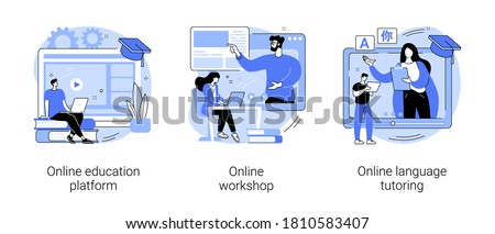 Distance web learning abstract concept vector illustration set. Online education platform, workshop and language tutoring, video call, educational webinar, personal tutor courses abstract metaphor.