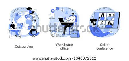 Distance working abstract concept vector illustration set. Outsourcing, work home office, online conference, freelance job, team digital meeting, IT business, internet platform abstract metaphor.
