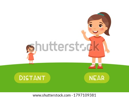 Distant and near antonyms word card vector template. Opposites concept. Flashcard for english language learning. Little girl stands far on the horizon, a child is close. Foto d'archivio ©