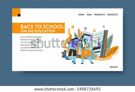 Distant education, home learning landing web page template vector. Book or textbook, Internet site, knowledge and studying subjects. Pupils or students with backpacks, online classes and homework