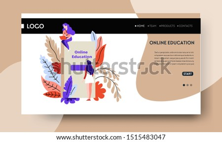 Distant education, start learning online web page template vector. Book or textbook, Internet site, graduation and certificate receiving. Knowledge, studying subjects or personal development courses