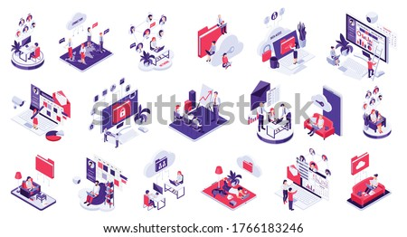 Distant remote outside office work control monitoring management telecommunication cloud data sharing isometric icons set vector illustration
