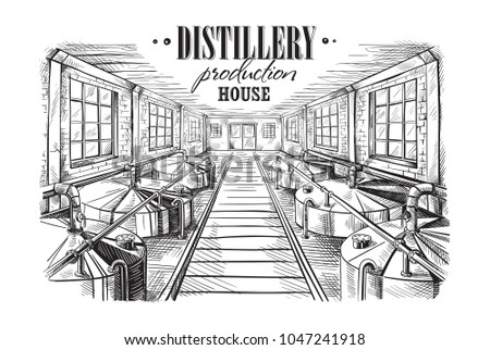 distillery production house. Vector illustration