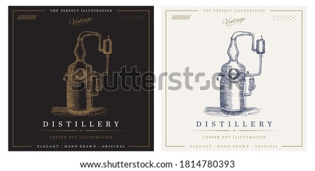 Distillery vintage copper pot alcohol distillation logo illustration Сток-фото ©