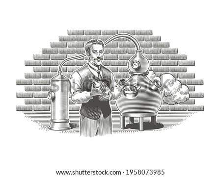 Distillery whiskey, gin, vodka or moonshine vintage engraving style vector illustration. Alcohol beverage or spirit distillation process. Man holding a bottle, alembic distiller on background. Foto stock ©