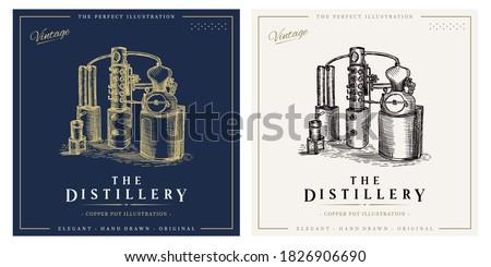Distillery whiskey vintage logo alcohol distillation process illustration Foto stock ©