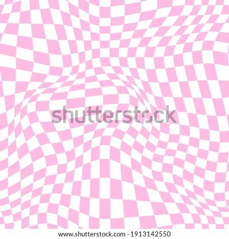 Distorted checkered pattern in baby pink. Vector seamless pattern Сток-фото ©