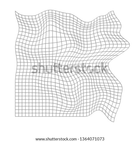 Distorted grid pattern. Technology, science, game background. Black and white. Monochrome. Banner, wallpaper, print. Foto stock ©